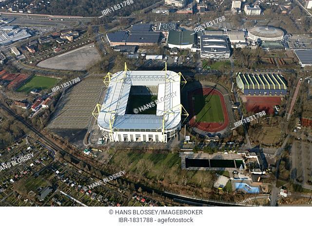 Aerial view, Signal Iduna Arena stadium, Signal Iduna Park, Westfalenstadion stadium, Dortmund, Ruhrgebiet region, North Rhine-Westphalia, Germany, Europe