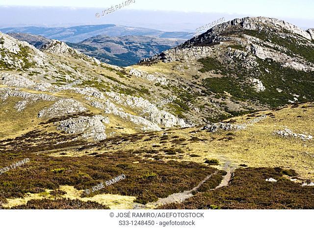 The Cervunalillo hill from the Berceras in the Sierra Norte Guadalajara Castilla la Mancha Spain