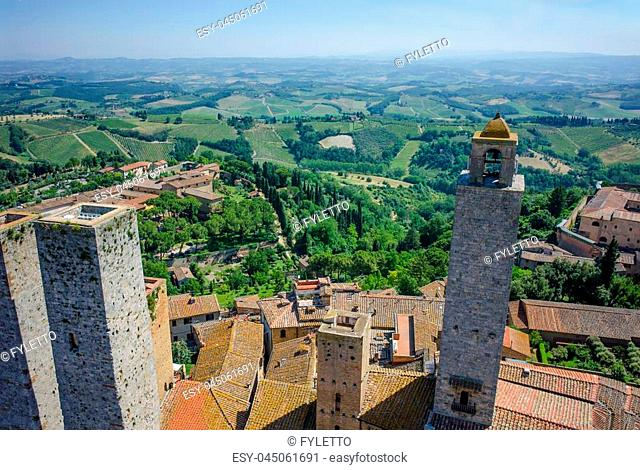 Aerial view of beautiful medieval town San Gimignano in Tuscany, Italy