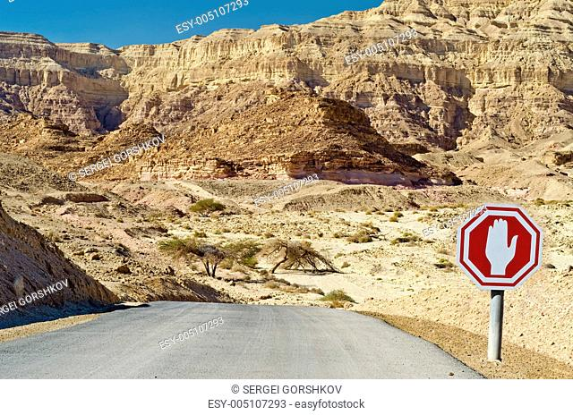 Colorful view on valley and dry riverbed in Timna geological park