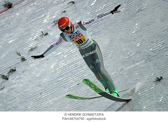 German athlete Richard Freitag lands a jump during the first assessment run at the Nordic Ski World Championship in Lahti, Finland, 04 March 2017