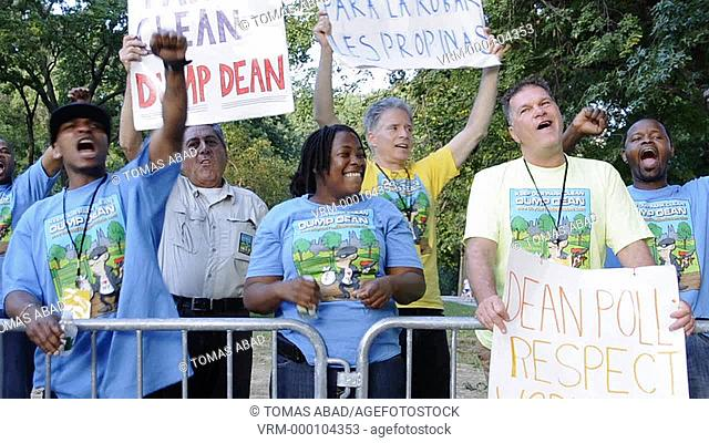 Monday August 29, 2011, Central Park Boat House workers rallying accusing the restaurant's operator Dean Poll for running a sweatshop in Central Park and that...