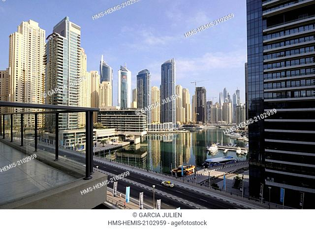 United Arab Emirates, Dubai, Dubai Marina from a high floor