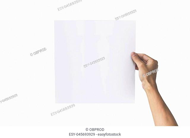 Two hands holding square paper in the right hand. Leaflet presentation. Pamphlet hand man. Man show offset paper. Sheet template. Book in hands