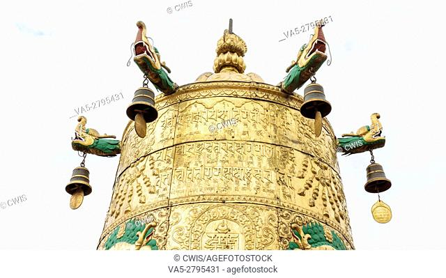 Lhasa, Tibet - the view of the Golden Roof of Jokhang Temple, the holy temple in Lhasa in the daytime