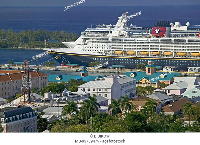 Bahamas, Nassau, harbor, cruise ship, panorama