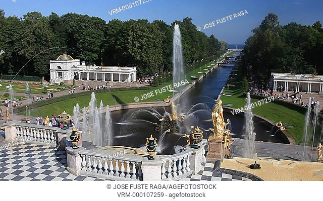 Rusia , San Petersburg City, Peterhof Palace Summer Palace W.H. , Garden , Fountains