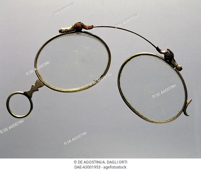 ef40663c5535 Pince nez glasses with gold spring without nose pads from the late 1800s.  19th century