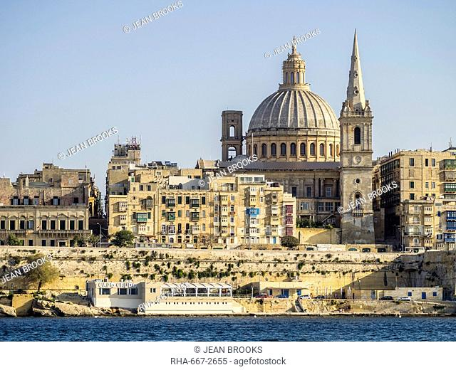 View approaching Valletta from the ferry, Valletta, Malta, Mediterranean, Europe