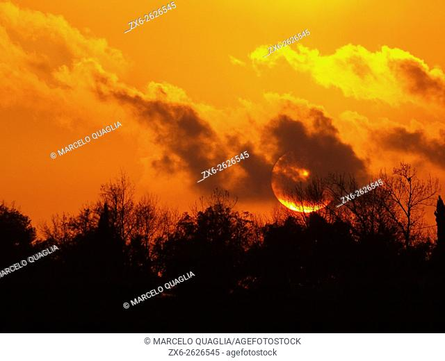 Sunset at Mosqueroles village countryside. Winter at Montseny Natural Park. Barcelona province, Catalonia, Spain