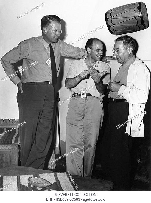 Atomic physicists Ernest Lawrence, Enrico Fermi, and Isidor Rabi at Los Alamos. Lawrence and Rabi were there to observe the Trinity Test on July 16, 1945