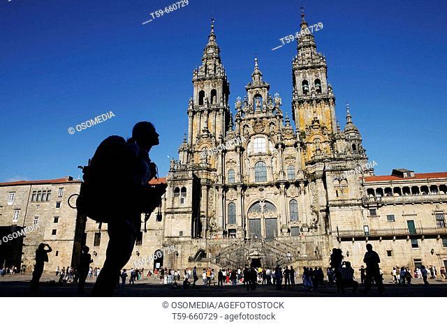 Cathedral of Santiago de Compostela with pilgrim, Spain