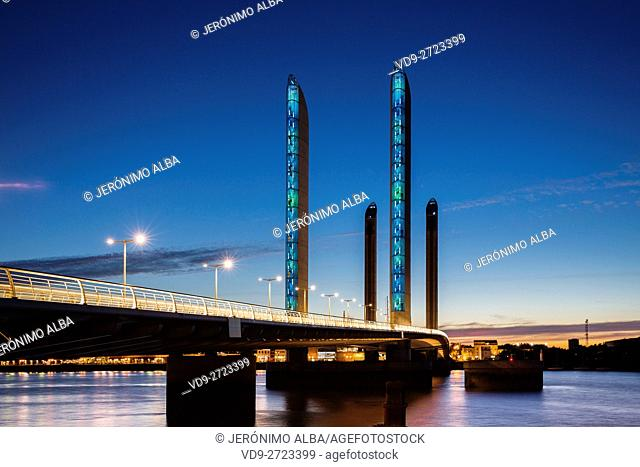 Pont Jacques Chaban-Delmas bridge at dusk. Bordeaux, Gironde. Aquitaine France Europe