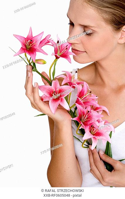 young woman with orchid