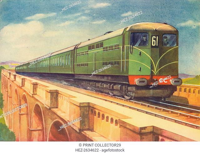 Brighton Belle, the S.R.'s Electric Locomotive, over Ouse Viaduct', 1940. Artist: Unknown