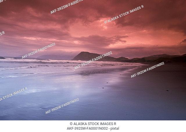 Sunset Over Beach at Pasagshak Bay Kodiak Is