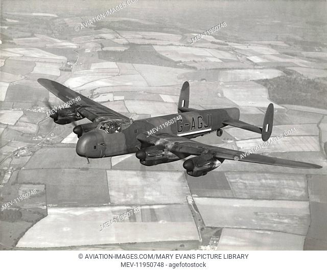 A Boac British Overseas Airways Corporation Avro Lancaster, Converted to an Airliner after WW2, Flying over Fields and Trees