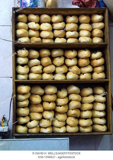 Bread in street food stall in Hanoi, Vietnam