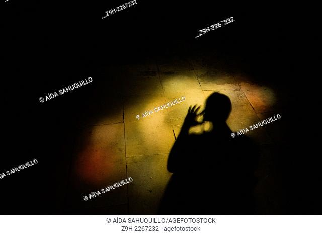Human shadow in Saint-Jacques Church, Perpignan, France
