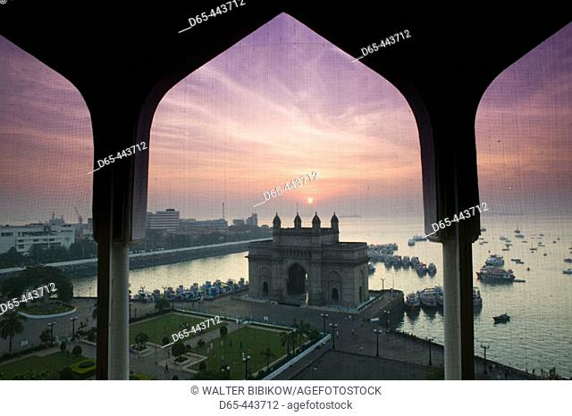 Gateway of India at dawn from Taj Mahal Hotel balcony, Bombay. Maharashtra, India (2004)