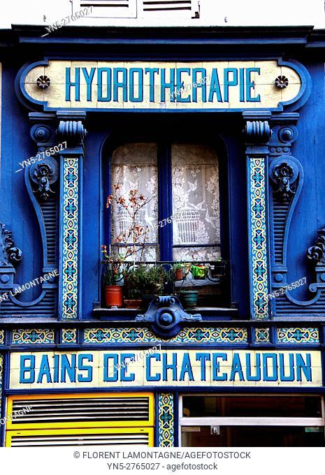 Façade of public baths of chateaudun, Paris, Ile de France