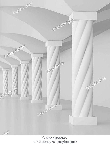 3d Illustration of Columns Hall or Architecture Background