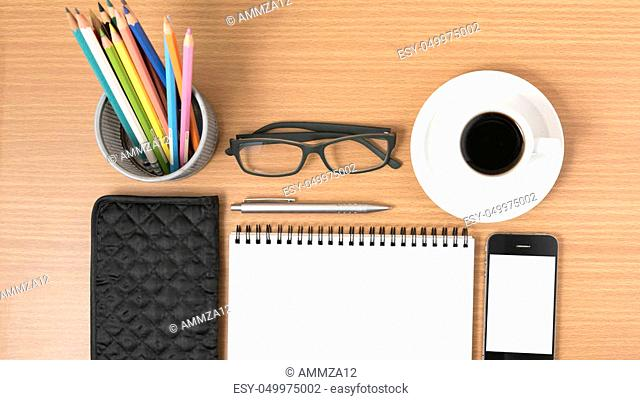 office desk: coffee with phone, notepad, eyeglasses, wallet, color pencil box on wood background