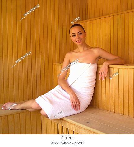 Beautiful woman sauna Stock Photos and Images  765fe9af7