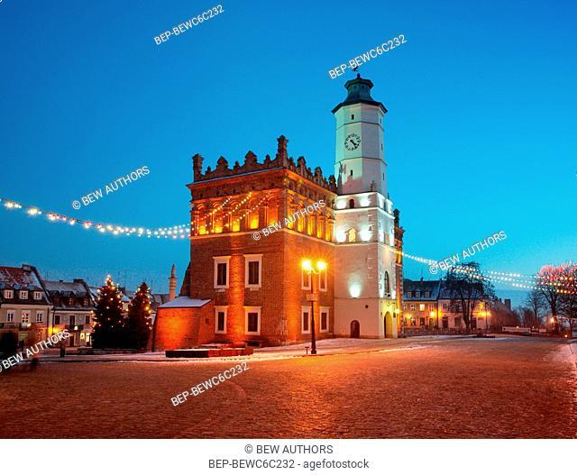 Poland, Swietokrzyskie Province, Sandomierz. Town hall on the Market Square
