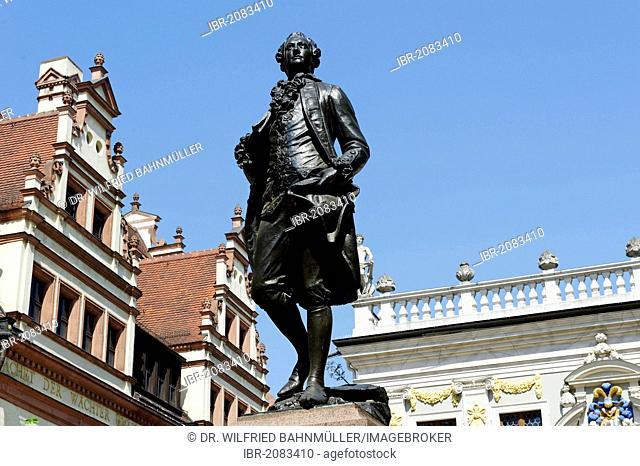 Statue of Johann Wolfgang von Goethe in Naschmarkt square, Leipzig, Saxony, Germany, Europe