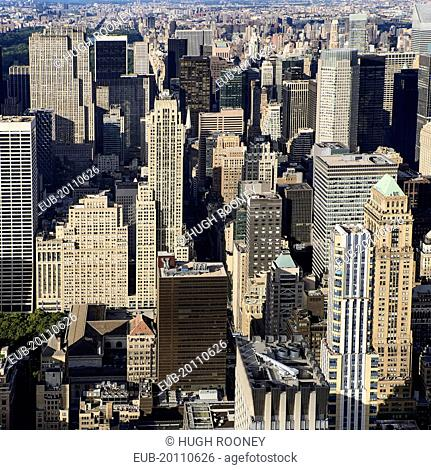 View north over 5th Avenue from the observation deck of the Empire State Building with spire of St Patricks Cathedral