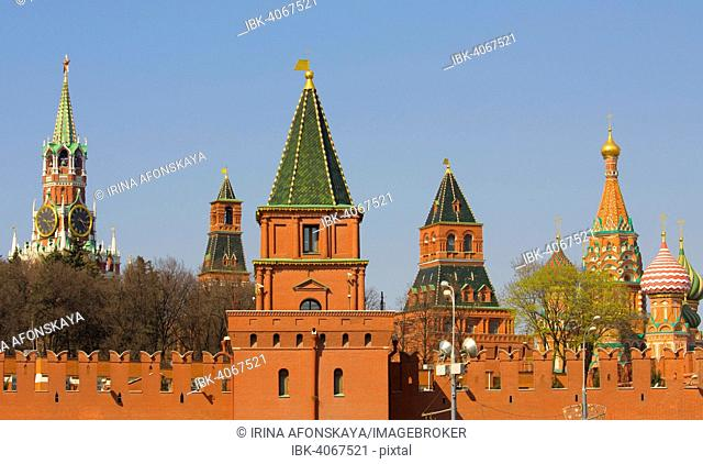 Towers of Moscow Kremlin and domes of Saint Basil's Cathedral, Moscow, Russia