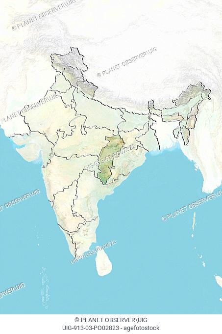 Relief map of India showing the State of Chhattisgarh. This image was compiled from data acquired by LANDSAT 5 & 7 satellites combined with elevation data