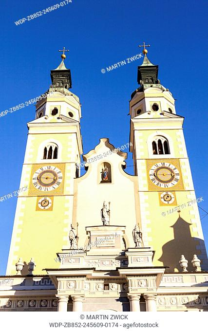 The Cathedral in Brixen (also called Bressanone or Persenon) in baroque style, facade facing the medieval market place. Europe, Central Europe, Italy