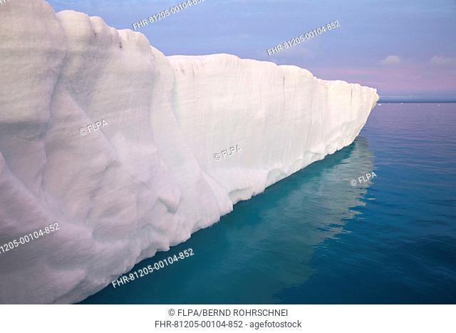 View of coastal glacier terminus, Brasvellbreen Glacier, Nordaustlandet, Svalbard, august