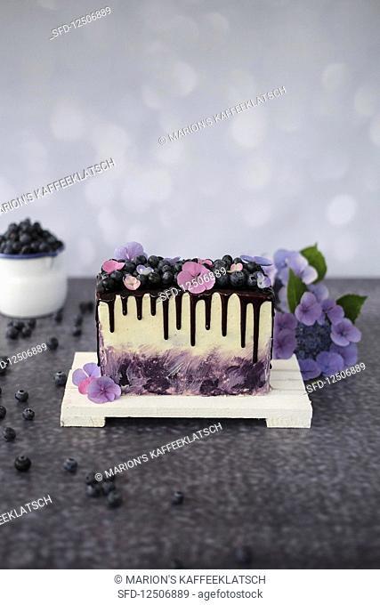 Milk cream and blueberry cake