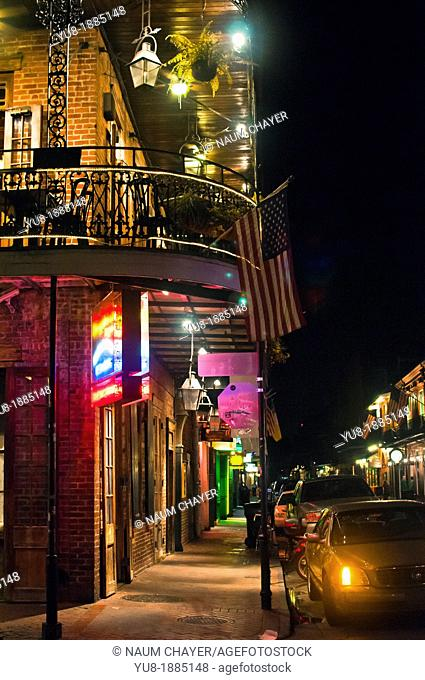 French Quarter at night, New Orleans , state of Louisiana, USA, North America
