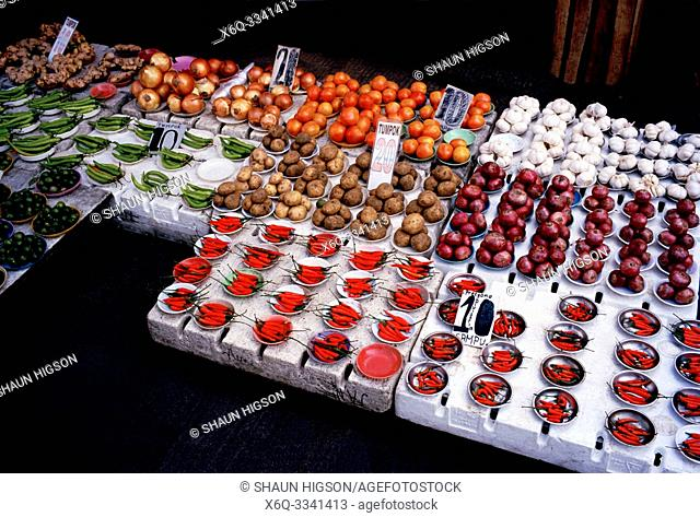 Chilli peppers in a street market in Manila in Luzon Metro Manila in the Philippines in Southeast Asia Far East
