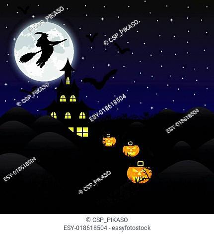 night landscape on Halloween