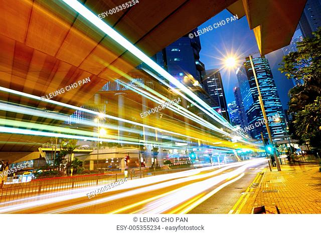 futuristic urban city with car light