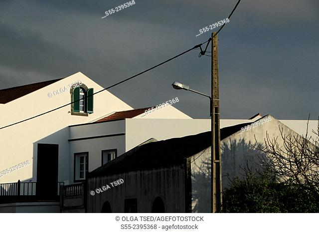 Houses and a street light in Candelaria village. Sao Miguel island, Azores, Portugal