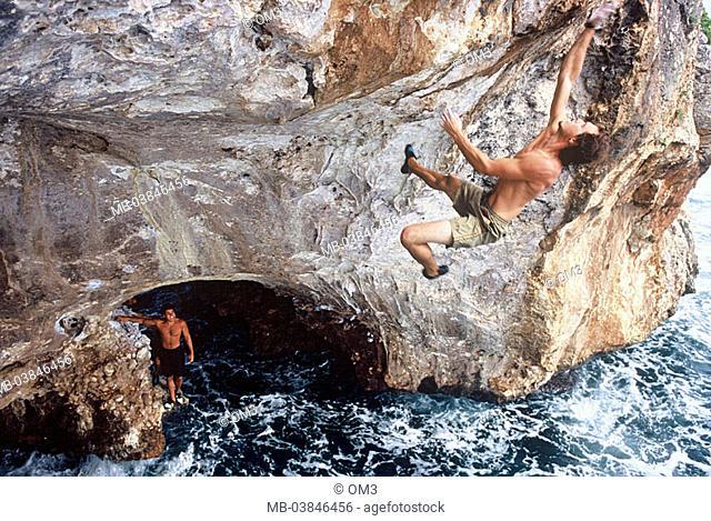 Matthias Woitzuck, pro-climbers, personality-rights, Spain, heed Majorca rock-coast climbers series, Balearen, island sea Mediterranean, surf, waves, coast