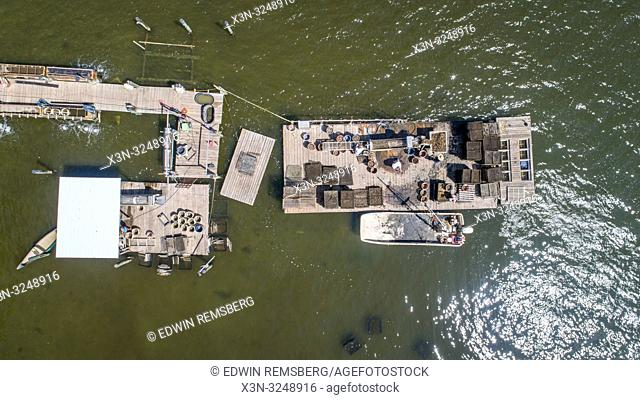 Aerial view of dock on Patuxent river where oyster sorting is being done, Hollywood, Maryland