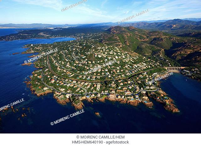 France, Var, Esterel, Saint Raphael, antheor, antheor inlet of the Rade d'Agay in the background aerial view