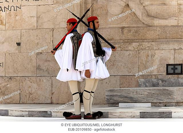 Greek soldiers, Evzones, beside Tomb of the Unknown Soldier, outside Parliament building