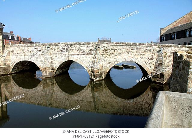 Old bridge over Selune river,Ducey village,Normandy, France