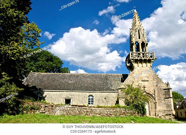 Saint Yves chapel, and its gothic flamboyant style steeple, Saint Yves, Brittany, Morbihan 56, France
