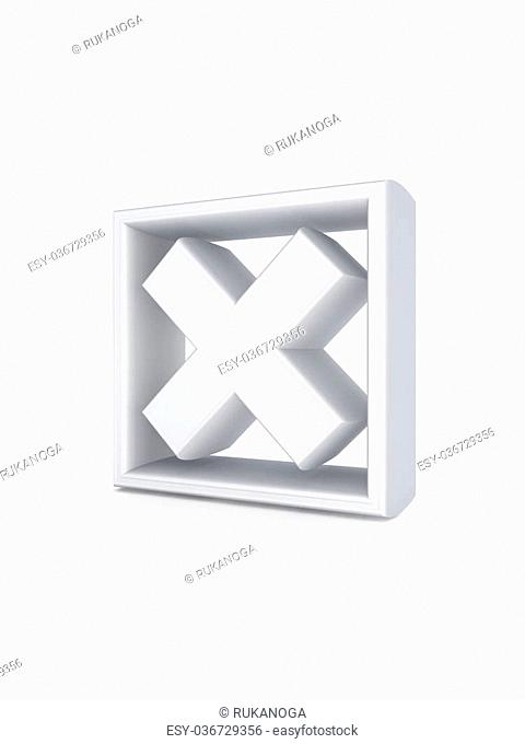 Cross mark.Isolated on white background.3d rendered illustration