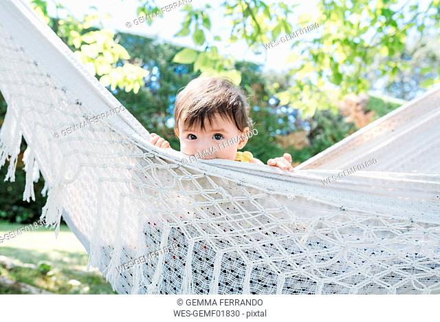 Spain, Baby girl relaxing in a hammock in the garden in the summer