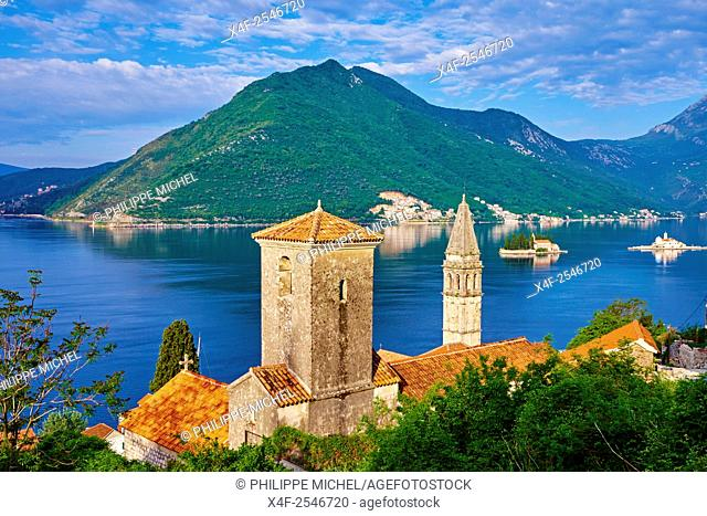 Montenegro, Adriatic coast, Bay of Kotor, Kotor, village of Perast, church tower, Island of St. George and Our Lady of the Rock island